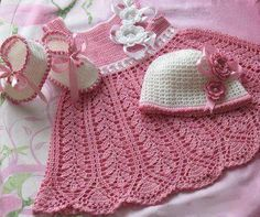 Knitting Patterns Beanie Baby Crochet Patterns - (Blankets, Baby Hats) - Free Crochet Patterns Part 2 Baby Knitting Patterns, Crochet Baby Hats Free Pattern, Baby Dress Patterns, Crochet Bebe, Baby Girl Crochet, Crochet Baby Clothes, Crochet Blanket Patterns, Baby Pink Dresses, Infant Dresses