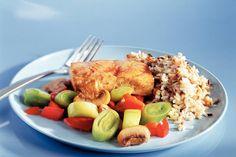 Kijk wat een lekker recept ik heb gevonden op Allerhande! Koolvis met groenten en rijst