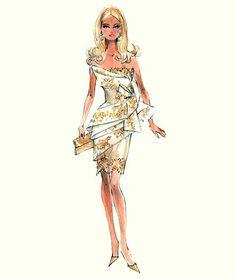 """(¯`'•.ೋ…          Robert Best- Fashion Designer for Barbie  Print """"Glimer of Gold"""""""