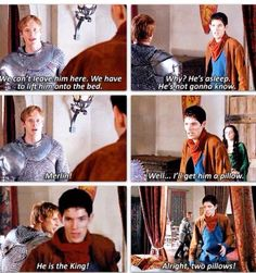 Merlin is so unimpressed with all this talk of kings and royalty. You get two pillows. I love him Merlin, Arthur, Uther Colin Morgan, Best Tv Shows, Favorite Tv Shows, Merlin Serie, Merlin 2, New Quotes, Funny Quotes, Funny Humor, Merlin Funny