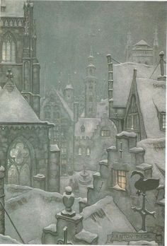 Fantasy cityscape of Haarlem, 1954 Snow Scenes, Winter Scenes, Art And Illustration, Anton Pieck, Photo Images, Dutch Painters, Winter Art, Winter Snow, Dutch Artists