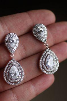 Bridal Crystal Drop Earrings Wedding Jewelry by simplychic93