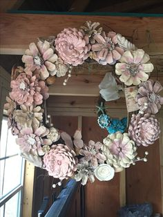Pinecone shabby chic wreath
