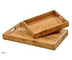 Set de 2 bandejas de madera Kail - natural