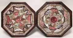 19th century large double sailor's valentine box. The large double valentine finely designed within a mahogany box, right hand side with central red flower surrounded by seed shells depicting 4 hearts and 4 daisies surrounded by bands of various colored shells. Left panel central flower surrounded by a star and seashells with red berry star shaped panel. Diameter 13 ¾ in. Provenance: The Estate of Richard Mellon Scaife