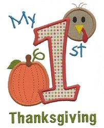 First Thanksgiving Applique - 2 Sizes!   Baby   Machine Embroidery Designs   SWAKembroidery.com Applique for Kids