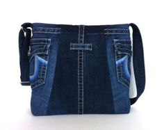 Denim messenger bag , blue jean cross body bag , recycled bag , recycled clothing tote bag , Eco friendly day bag for men and women