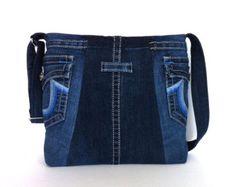 Denim messenger bag, bleu jean Croix sac bandoulière, sac recyclé, sac…