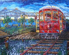 Streetcars' Riverwalk View  matted to fit 16x20  by StaceyFabre - Houma, LA impasto artist