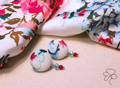 Orecchini fiori; earrings; stoffa; fabric;