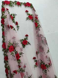 Floral Embroidery Baby Pink Dupatta Designer Chunni Stole Scarves Embroiderd Net for Lehenga Suit Sa Indian Fashion Dresses, Dress Indian Style, Indian Designer Outfits, Stylish Sarees, Stylish Dresses, Beautiful Gown Designs, Floral Embroidery Dress, Hand Embroidery, Velvet Dress Designs