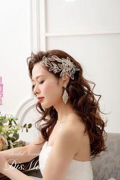 Pin by Wedding Wind on Wedding/evening hairstyles Evening Hairstyles, Bride Hairstyles, Down Hairstyles, Headpiece Jewelry, Flower Headpiece, Bridal Headpieces, Bridal Hair, Hair Arrange, Wedding Hair Pieces