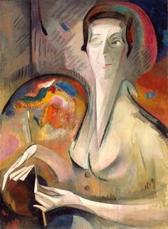 'Self-Portrait' (1917) by Swiss painter Alice Bailly (1872-1938). Oil on canvas, 32 x 23.5 in. via National Museum of Women in the Arts