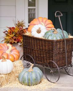 This display of festive pumpkins are sure to get your visitors in the mood for some candy corn.