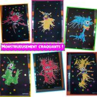Voici les monstres créés par les MS-GS d'après une idée vue sur Pinterest. Une tache d'encre déposée à la pipette et soufflée avec une paille sur une feuille blanche. Un découpage...