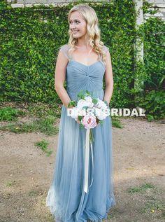 Long Tulle A-Line Bridesmaid Dress, Cheap Backless Floor-Length Bridesmaid Dress, D1046