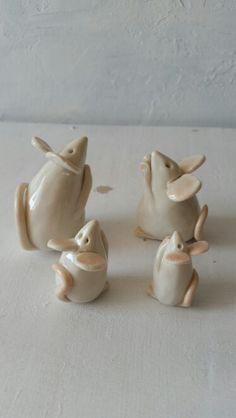 Limoge porcelain handmade Mice family by Damla Yeşiloğlu.