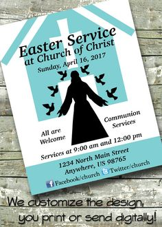 Items similar to Easter Church Service ~ Church Event ~ Worship ~ 5x7  Invite ~ 8.5x11 Flyer ~ 11x14 Poster ~ 300 dpi Digital Invitation on Etsy 8f20a8962