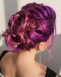 Stunning pink + purple updo by - try our Plum Purple + Smokey Mauve to get a similar style! Mom Hairstyles, Braided Hairstyles Updo, Homecoming Hairstyles, Pretty Hairstyles, Updos, Updo Hairstyle, Hairdos, Wedding Hairstyles, Vivid Hair Color