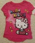 Sanrio Hello Kitty Sparkly Graphics Toddler Girls Pink Crew Neck Tee Shirt 4T