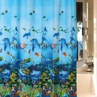 "Blue Ocean Sea Submarine World Dophin Fishes Bathroom Waterproof Peva 72""*72"" Shower Curtain with 12 Hooks"