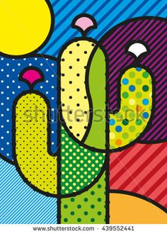 Art Modern Vector Illustration Cactus for your design - buy this vector on Shutterstock & find other images.Pop Art Modern Vector Illustration Cactus for your design - buy this vector on Shutterstock & find other images. Britto Art, Colorful Art, Art Painting, Art Drawings, Art Background, Cactus Art, Pop Art Painting, Art, Modern Art Abstract