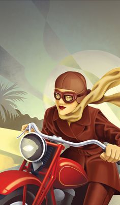 The Art Deco Capital: Napier, New Zealand - Graphic Design by Stephen Fuller  Art deco girl on a motorcycle. Vrooom!  [ more motorcycle illustrations | riders in motion ]
