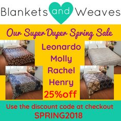 Spring has sprung and we are celebrating with a super duper sale on our luxury blankets! Be sure to use the discount code when checking out Spring Has Sprung, Spring Sale, Home Look, Blankets, Coding, Luxury, Design, Blanket, Carpet