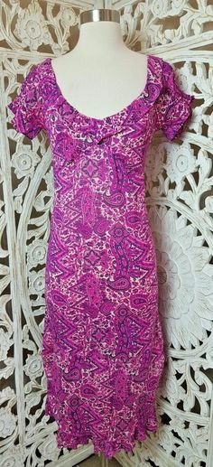 2ee9ed6d2f19 ANTHROPOLOGIE Ruby Mae Pink Paisley Print BOHO Silk Midi Ruched Hem Dress  XS 0 2 #
