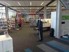 Self-issue kiosks, staff workroom & fiction area