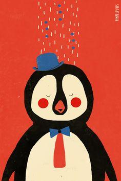 Pinguïn print - Pimpelpluis - https://www.facebook.com/pages/Pimpelpluis/188675421305550?ref=hl - (nursery print illustration kids children art poster dieren kinderen cute illustratie Penguin animal retro)