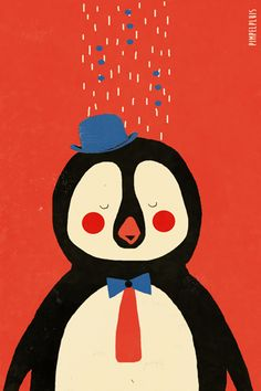 Pinguïn print - Pimpelpluis - https://www.facebook.com/pages/Pimpelpluis/188675421305550?ref=hl - (nursery print illustration kids children art poster dieren kinderen cute illustratie Penguin animal retro)