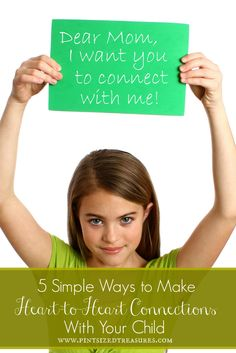 Do you desire a close-knit relationship with your child? You need daily, heart-to-heart connections! Here are five simple ways to connect with your child every single day. Enjoy a personal, loving relationship with your child -- it really is possible! #parenting #children #kids #heartconnections www.pintsizedtreasures.com