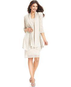 R&M Richards Sleeveless Metallic Dress and Jacket - Wedding Dresses - Women - Macy's