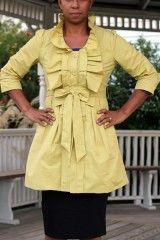 Mustard Ruffle Long Belted Jacket