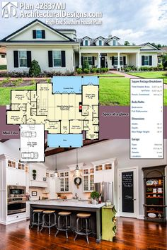 Architectural Designs Southern House Plan 42837MJ has warm and inviting charm. It has covered porches front and back, 3 beds and over 3,200 square feet of heated living space inside. Ready when you are. Where do YOU want to build?