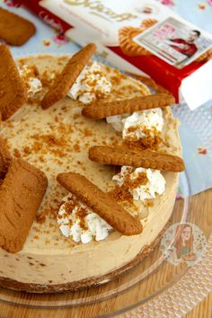 No-Bake Biscoff Cookie Butter Cheesecake!  Ingredients  Biscuit Base – 150g Digestives – 150g Lotus/Biscoff Biscuits – 150g Butter, Melted  Cheesecake Filling – 2x280g Philadelphia Cream Cheese – 1 tsp vanilla bean extract – 100g icing sugar – 300ml Double Cream – 250g Speculoos/Biscoff Cookie Butter – (I used the crunchy one!)  Decorations – Whipped Cream – Lotus Biscuits!