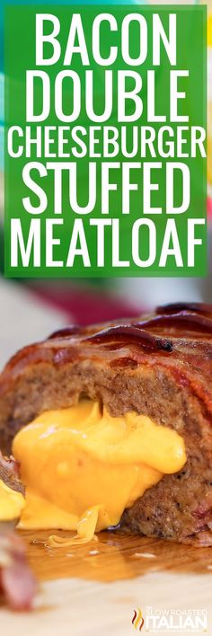 Bacon Double Cheeseburger Stuffed Meatloaf is bursting with bold steak flavors Just the thought of the ultimate comfort food is just about enough to make my mouth water b. Good Meatloaf Recipe, Meatloaf Recipes, Meat Recipes, Cooking Recipes, Dinner Recipes, Dinner Ideas, Homemade Meatloaf, Delicious Recipes, Tasty