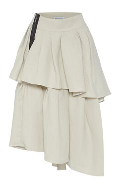 This **Maticevski** Livelihood skirt features a tiered pleated construction and an A-symmetrical hemline