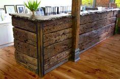 rock solid modern-rustic reception desk