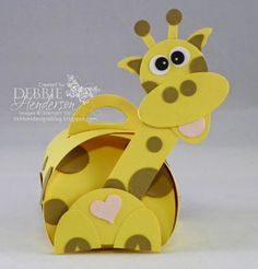 Stampin' Up! Curvy Keepsakes Box Die turned into a giraffe, punch art. Debbie Henderson, Debbie's Designs.