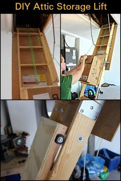 Need to store boxes in your attic? This DIY attic storage lift will help make th. - Need to store boxes in your attic? This DIY attic storage lift will help make the work faster and e - Attic Lift, Garage Attic, Diy Garage, Attic Closet, Attic Office, Garage Signs, Garage Ideas, Diy Storage Lift, Garage Storage
