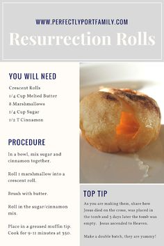 Share the gospel and reason for Easter with these 5 simple kid activities. This… Share the gospel and reason for Easter with these 5 simple kid activities. This simple resurrection roll recipe is simple and delicious. Easter Snacks, Easter Recipes, Brunch Recipes, Appetizer Recipes, Holiday Recipes, Dessert Recipes, Easter Food, Easter Ideas, Appetizers