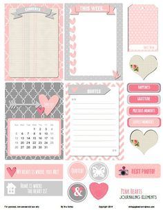 pink hearts journaling elements preview Free Printable Download Pink Hearts Journaling Elements- click on the word here in purple above the image- adobe uploads- click download arrow- save as!