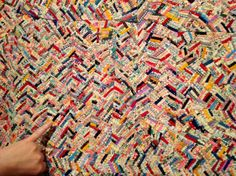"Quilt of Many Colors 79"" x 80""   circa 1930 Bessie Bailey Sanford, Clare, Michigan  ""This quilt contains over 37,000 pieces, all sewn togeth..."