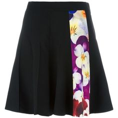 Christopher Kane pansy stripe A-line skirt ($745) ❤ liked on Polyvore featuring skirts, black, pleated a line skirt, high-waisted skirts, short a line skirt, print skirt and a-line skirt