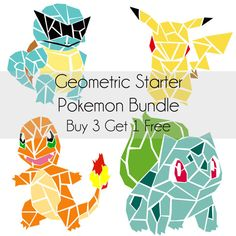 This bundle consists of 4 digital prints! The prints you will be getting are the four starter Pokemon: Bulbasaur, Charmander, Pikachu and