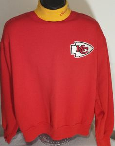 Vintage Kansas City Chiefs Mens Size Large Turtleneck Sweatshirt #Majestic #SweatshirtCrew #KansasCityChiefs