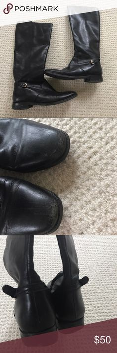 Lauren Ralph Lauren black buckle riding boots Super cute Lauren Ralph Lauren black riding boots. show some wear on front and heel but barely noticeable! Lauren Ralph Lauren Shoes Winter & Rain Boots