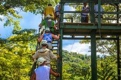 going up on the first platform osa palmas canopy tour  Las Palmas, near Puerto Jimenez Osa Peninsula #fun #zipline #costarica